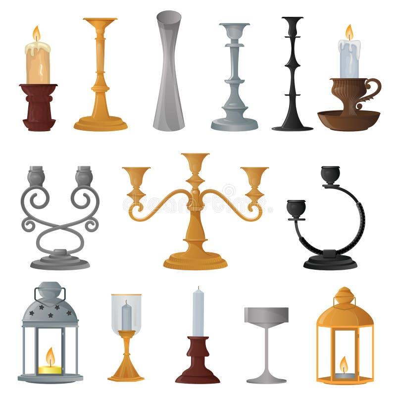 Garnering för lyktan för levande ljus för tappning för lyktan för ljusstakevektorstearinljuset och den gamla kandelaberhållareill stock illustrationer