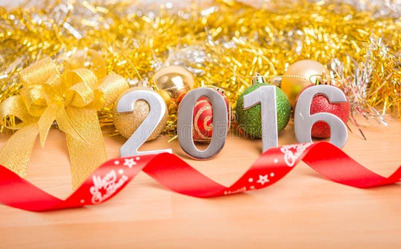Garnering för nytt år, Closeup på 2016 royaltyfri foto