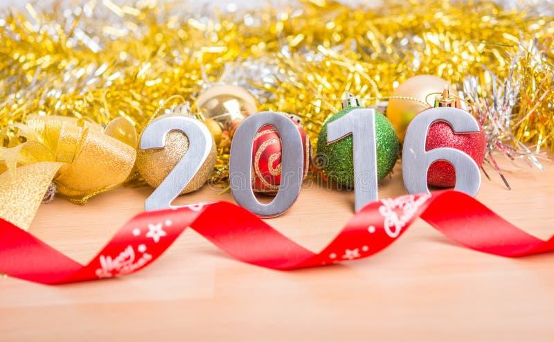 Garnering för nytt år, Closeup på 2016 arkivbild