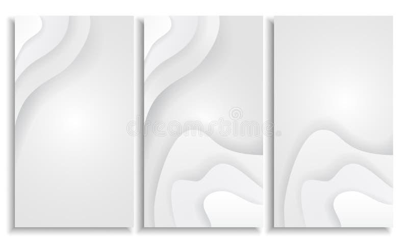 Garnering för papercut för vitboksnittbakgrund som abstrakt realistisk textureras med krabba lager vektor illustrationer