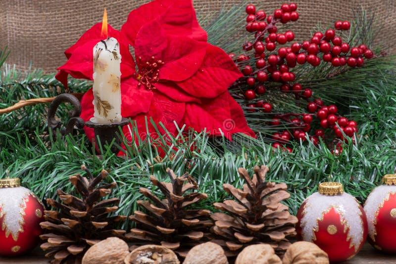 Garnering för vinterferie: Sörja, bärbusken, julgranbollar, sörja kotten, valnötter och den brännande stearinljuset, blomma den r arkivfoto