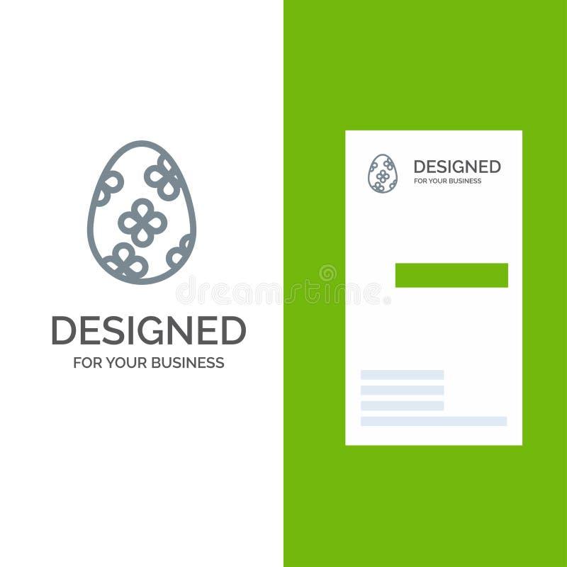 Garnering, påsk, påskägg, ägg Grey Logo Design och mall för affärskort vektor illustrationer