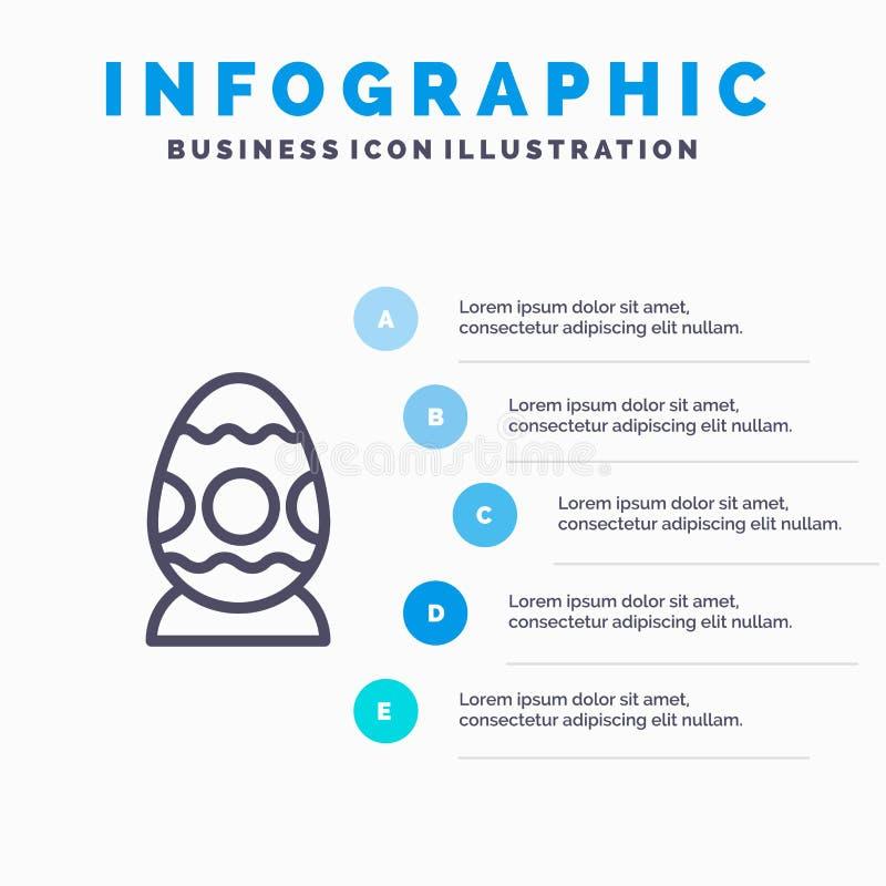 Garnering påsk, påskägg, ägglinje symbol med för presentationsinfographics för 5 moment bakgrund vektor illustrationer