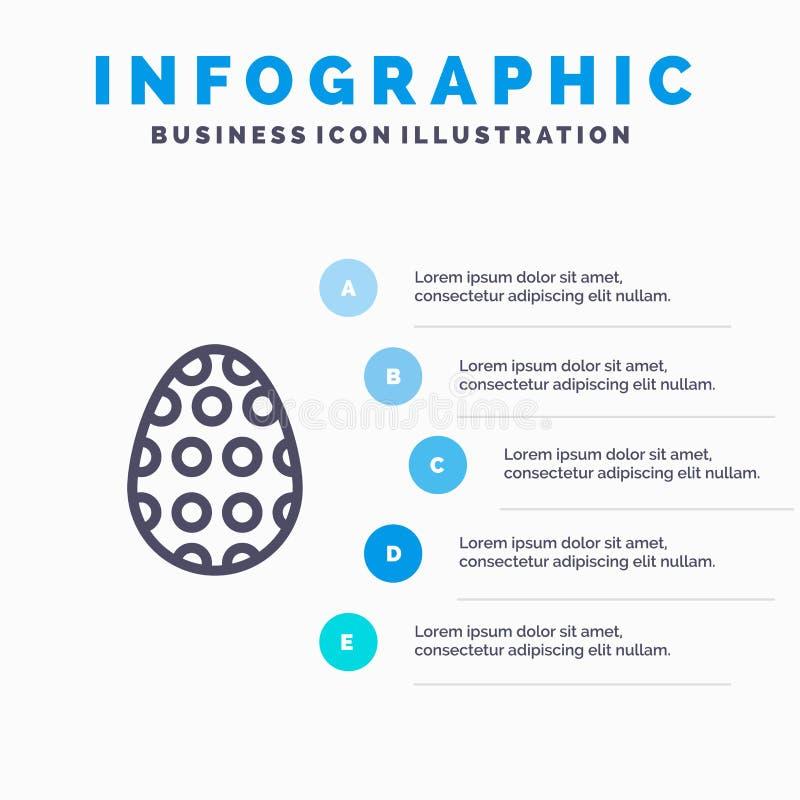 Garnering påsk, påskägg, ägglinje symbol med för presentationsinfographics för 5 moment bakgrund stock illustrationer