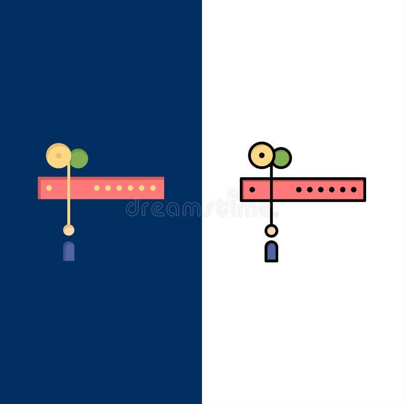 Garnering snitt, festival, flaggasymboler Lägenheten och linjen fylld symbol ställde in blå bakgrund för vektorn stock illustrationer