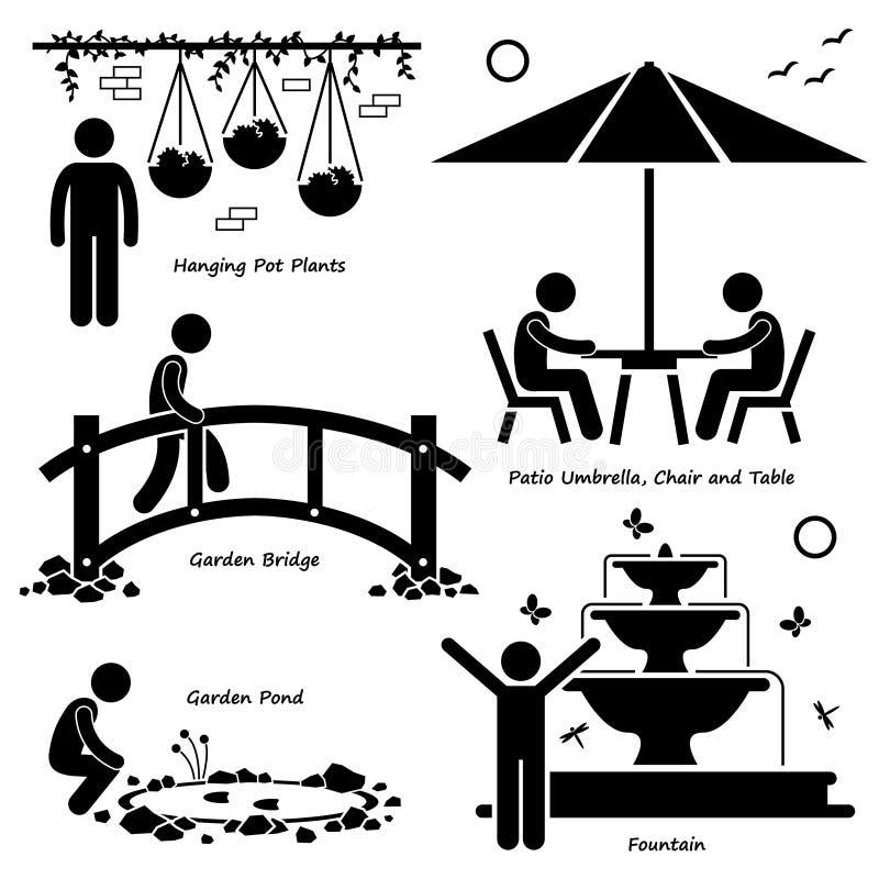 Garneringar Cliparts för fast tillbehör för strukturer för hem- husträdgård utomhus- royaltyfri illustrationer
