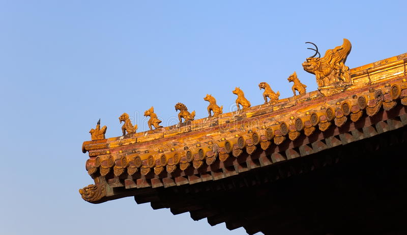Garneringar För Beijing Porslinstad Som Förbjudas Taket Royaltyfria Foton