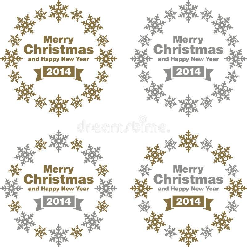 Garneringar för jul och för nytt år vektor illustrationer