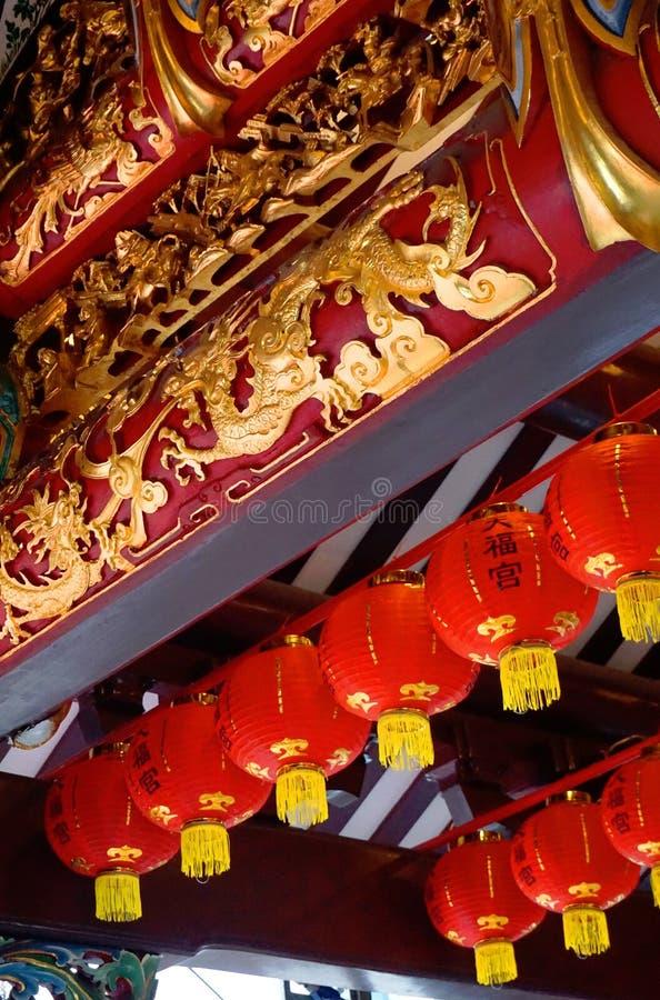Garneringar för nytt år för Thian HockKeng tempel kinesiska royaltyfria foton