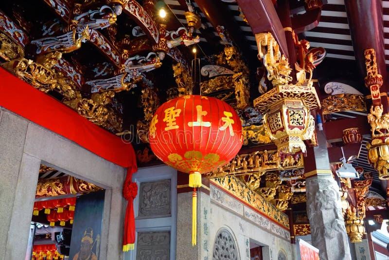 Garneringar för nytt år för Thian HockKeng tempel kinesiska royaltyfri fotografi