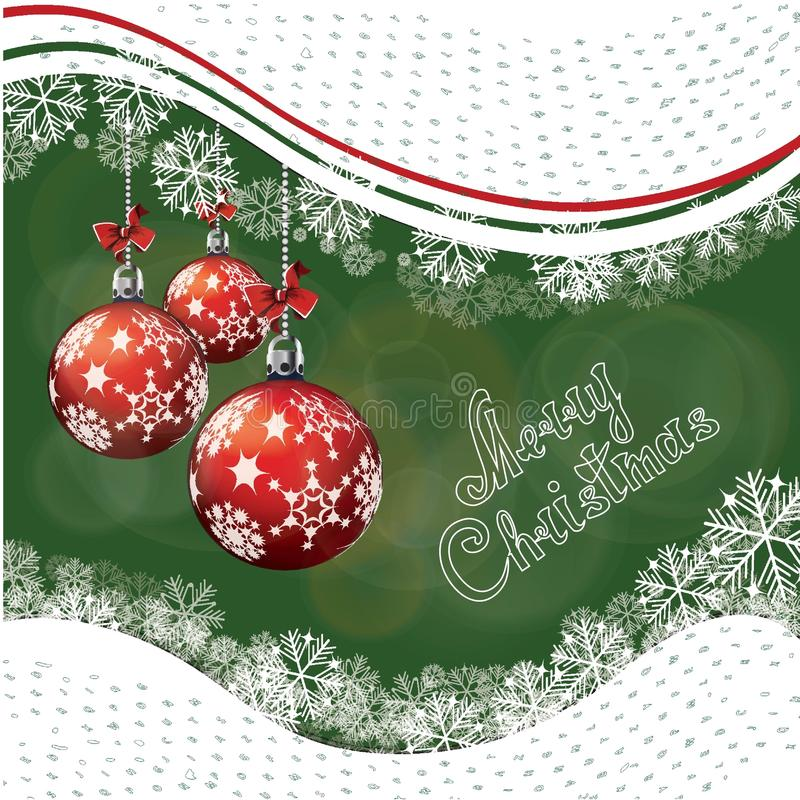 Garneringar för nytt år Fröhus på filialen av julgranen vektor illustrationer