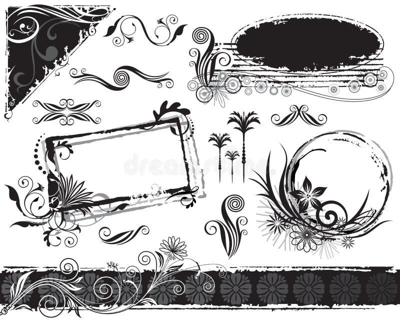 garneringar planterar seten royaltyfri illustrationer