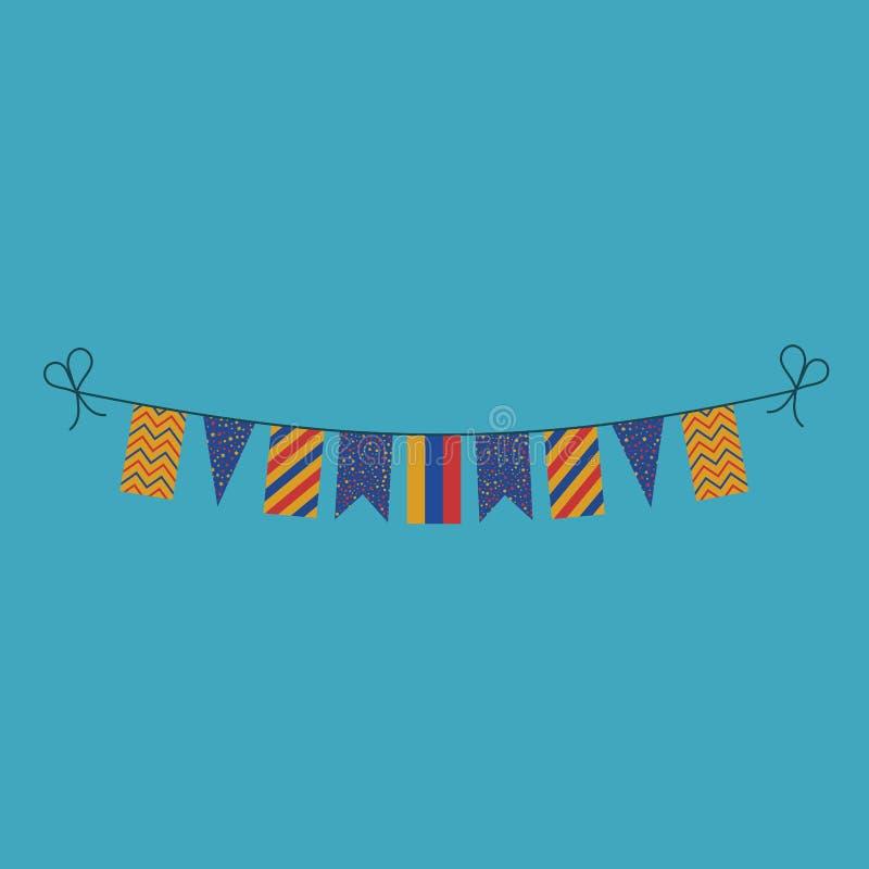Garneringar som bunting flaggor för ferie Armenien för nationell dag i plan design stock illustrationer
