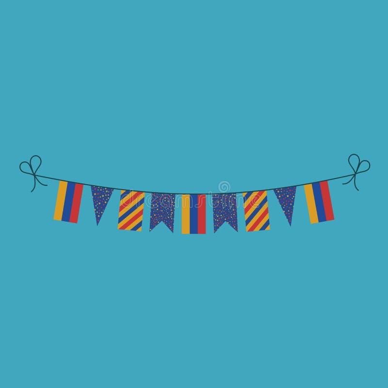 Garneringar som bunting flaggor för ferie Armenien för nationell dag i plan design vektor illustrationer