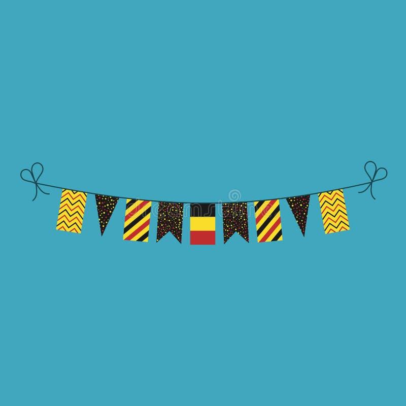 Garneringar som bunting flaggor för ferie Belgien för nationell dag i plan design stock illustrationer