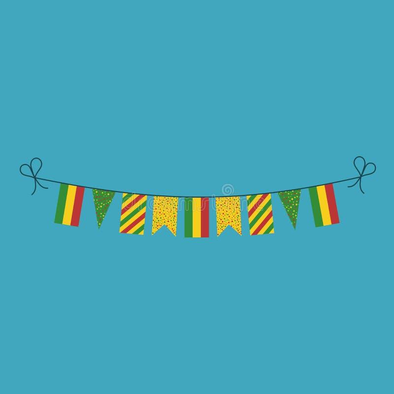 Garneringar som bunting flaggor för ferie Bolivia för nationell dag i plan design vektor illustrationer