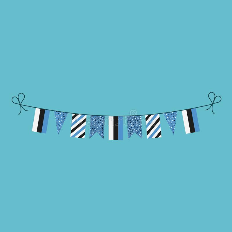 Garneringar som bunting flaggor för ferie Estland för nationell dag i plan design vektor illustrationer