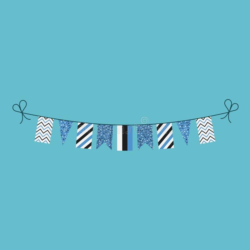 Garneringar som bunting flaggor för ferie Estland för nationell dag i plan design stock illustrationer
