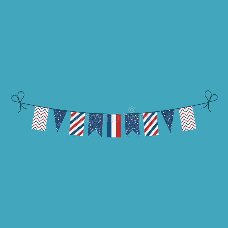 Garneringar som bunting flaggor för ferie Frankrike för nationell dag i plan design royaltyfri illustrationer