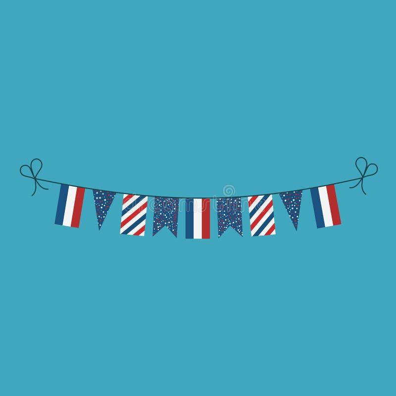 Garneringar som bunting flaggor för ferie Frankrike för nationell dag i plan design vektor illustrationer