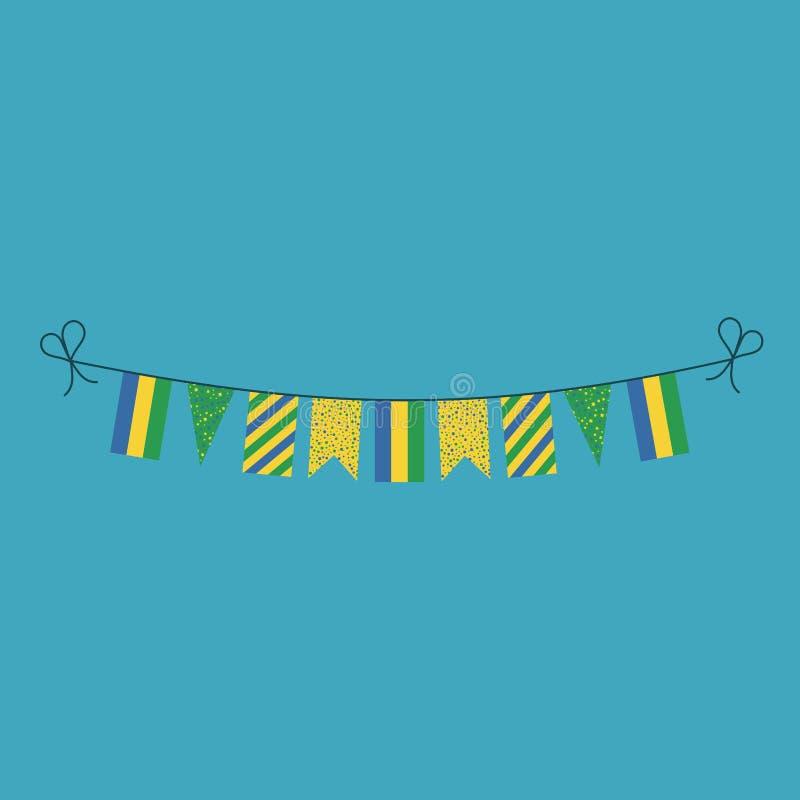 Garneringar som bunting flaggor för ferie Gabon för nationell dag i plan design royaltyfri illustrationer