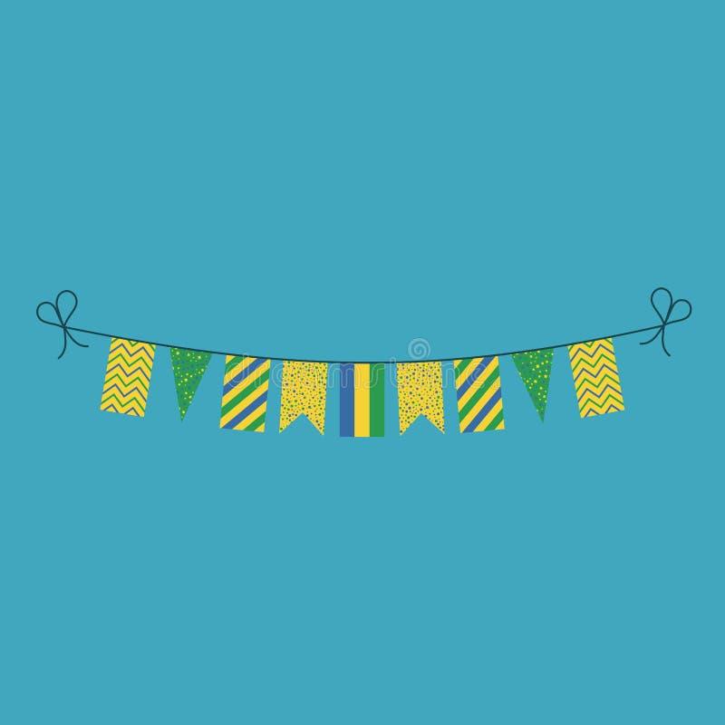 Garneringar som bunting flaggor för ferie Gabon för nationell dag i plan design vektor illustrationer
