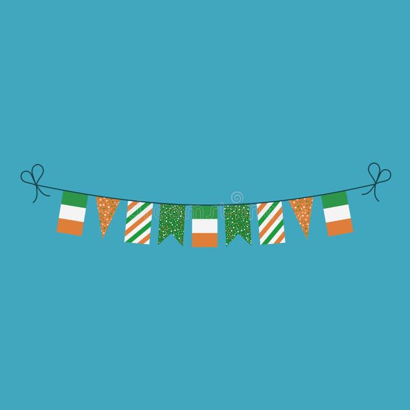 Garneringar som bunting flaggor för ferie Irland för nationell dag i plan design royaltyfri illustrationer