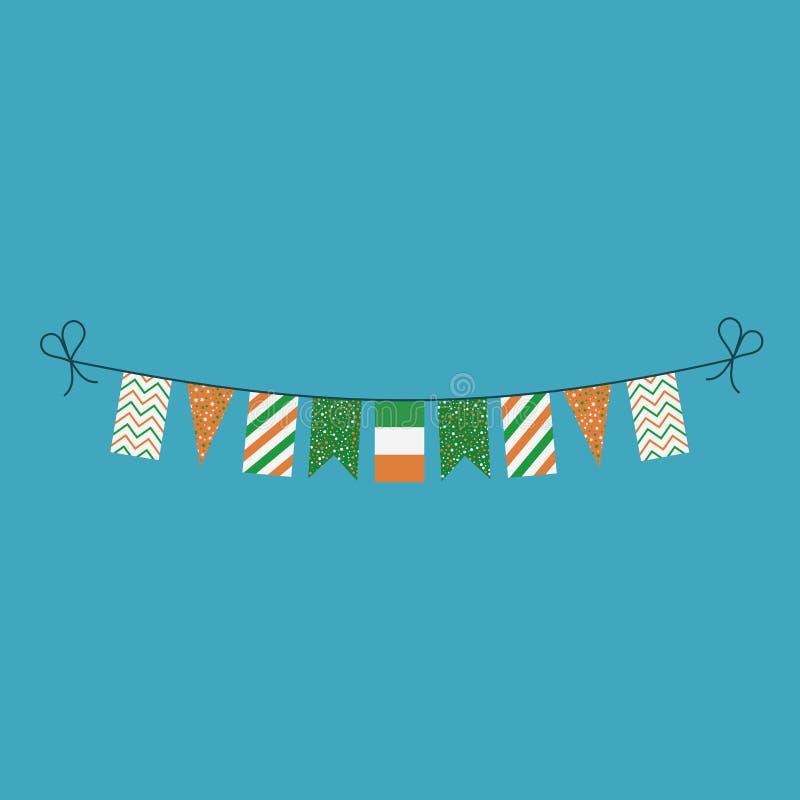 Garneringar som bunting flaggor för ferie Irland för nationell dag i plan design stock illustrationer