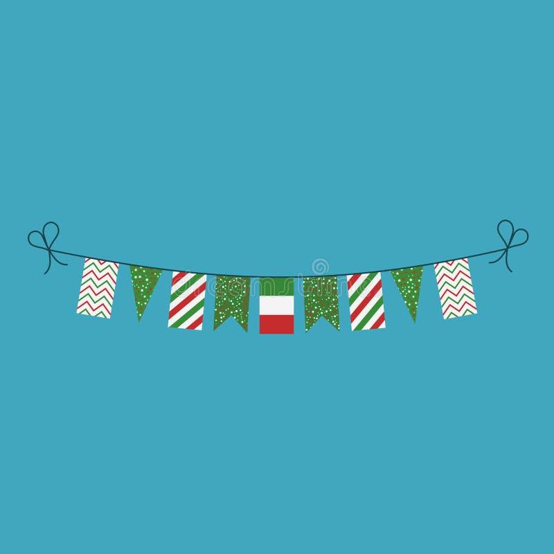 Garneringar som bunting flaggor för ferie Italien för nationell dag i plan design royaltyfri illustrationer