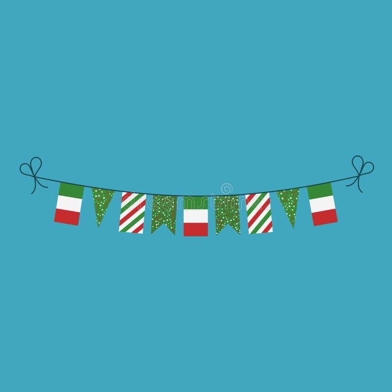 Garneringar som bunting flaggor för ferie Italien för nationell dag i plan design vektor illustrationer