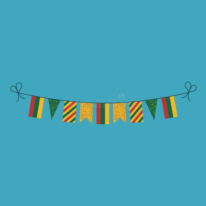 Garneringar som bunting flaggor för ferie Litauen för nationell dag i plan design stock illustrationer