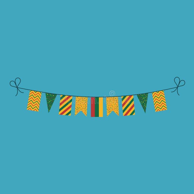 Garneringar som bunting flaggor för ferie Litauen för nationell dag i plan design royaltyfri illustrationer