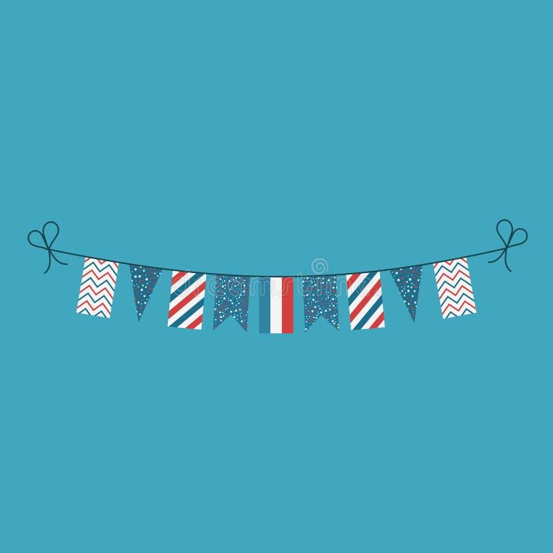 Garneringar som bunting flaggor för ferie Luxembourg för nationell dag i plan design stock illustrationer