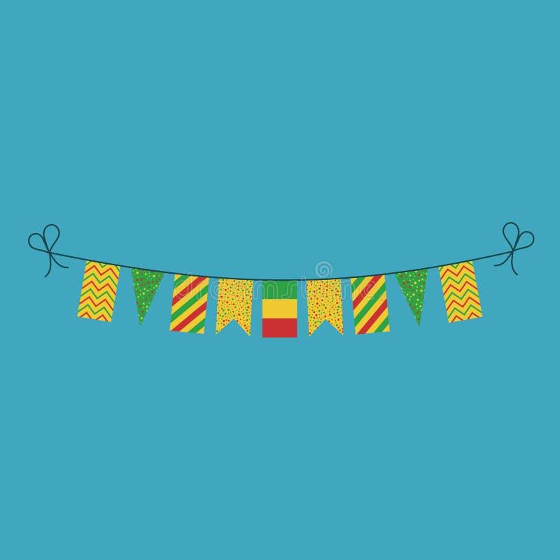 Garneringar som bunting flaggor för ferie Mali för nationell dag i plan design stock illustrationer