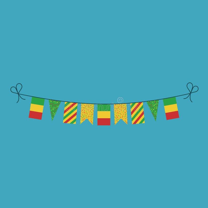 Garneringar som bunting flaggor för ferie Mali för nationell dag i plan design royaltyfri illustrationer