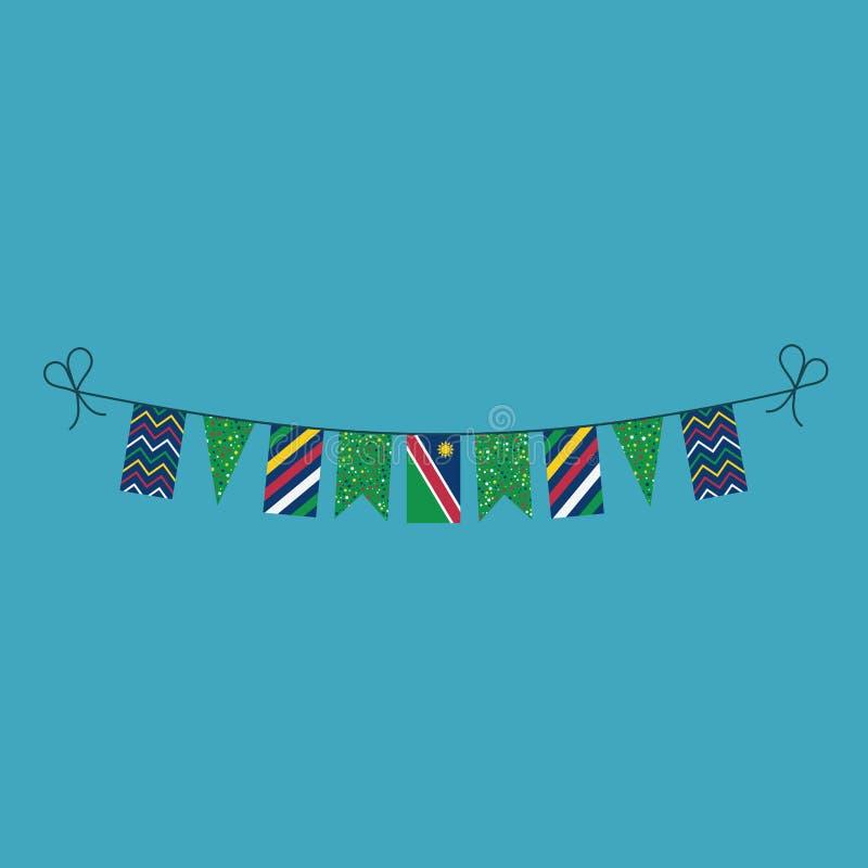 Garneringar som bunting flaggor för ferie Namibia för nationell dag i plan design vektor illustrationer