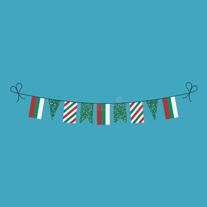 Garneringar som bunting flaggor för ferie för nationell dag för Bulgarien i plan design stock illustrationer