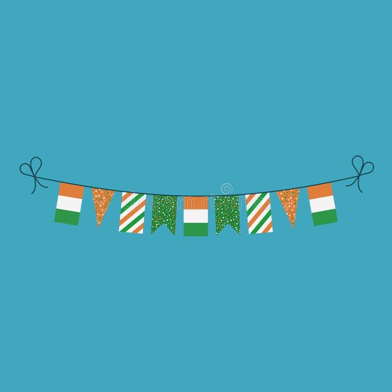 Garneringar som bunting flaggor för ferie för nationell dag för Elfenbenskust i plan design vektor illustrationer