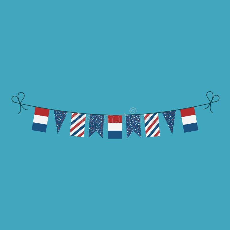 Garneringar som bunting flaggor för ferie för nationell dag för Nederländerna i plan design royaltyfri illustrationer