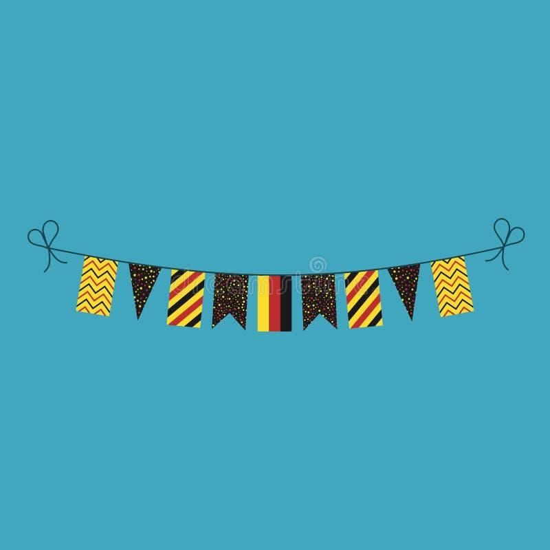 Garneringar som bunting flaggor för ferie för nationell dag för Tyskland i plan design stock illustrationer