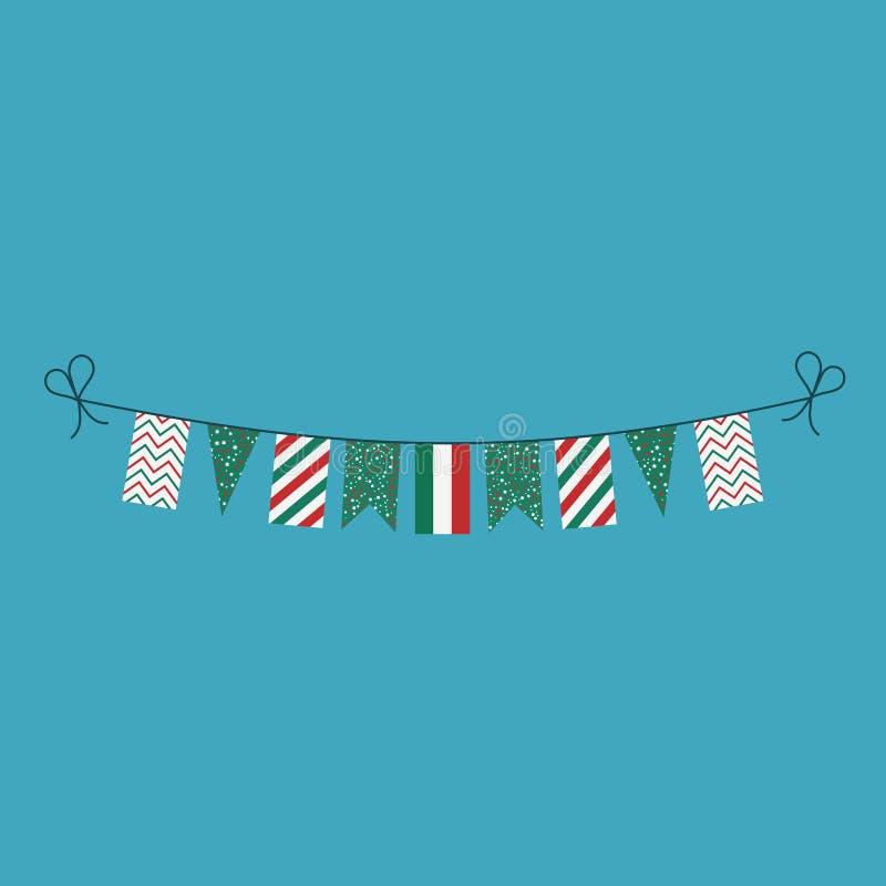 Garneringar som bunting flaggor för ferie för nationell dag för Ungern i plan design royaltyfri illustrationer