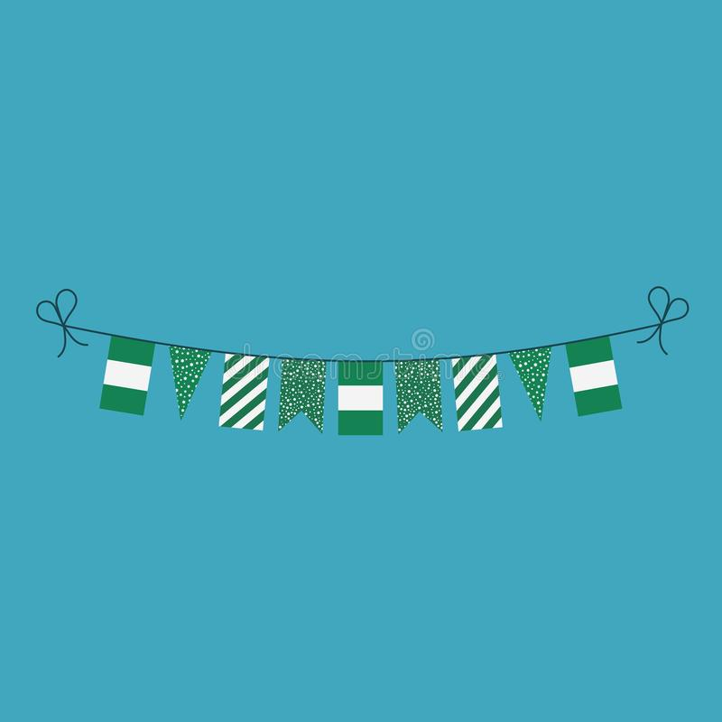 Garneringar som bunting flaggor för ferie Nigeria för nationell dag i plan design royaltyfri illustrationer