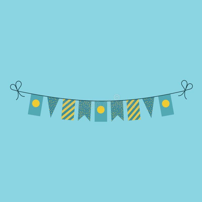 Garneringar som bunting flaggor för ferie Palau för nationell dag i plan design vektor illustrationer