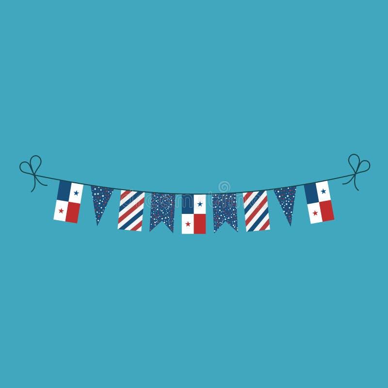 Garneringar som bunting flaggor för ferie Panama för nationell dag i plan design vektor illustrationer
