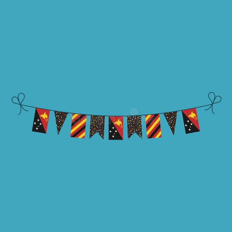 Garneringar som bunting flaggor för ferie Papua Nya Guinea för nationell dag i plan design royaltyfri illustrationer