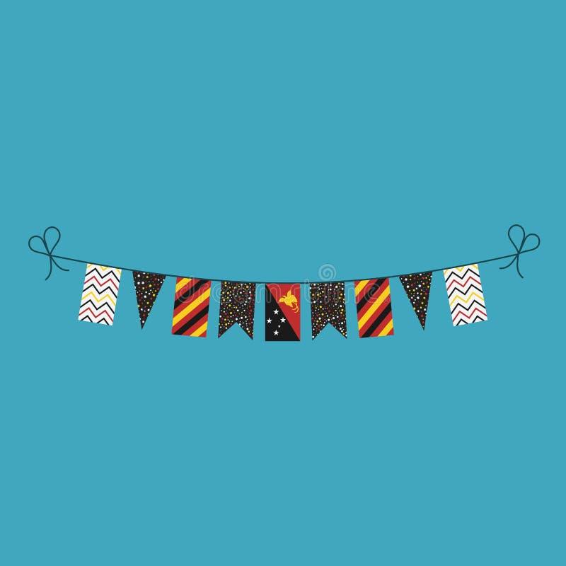 Garneringar som bunting flaggor för ferie Papua Nya Guinea för nationell dag i plan design stock illustrationer
