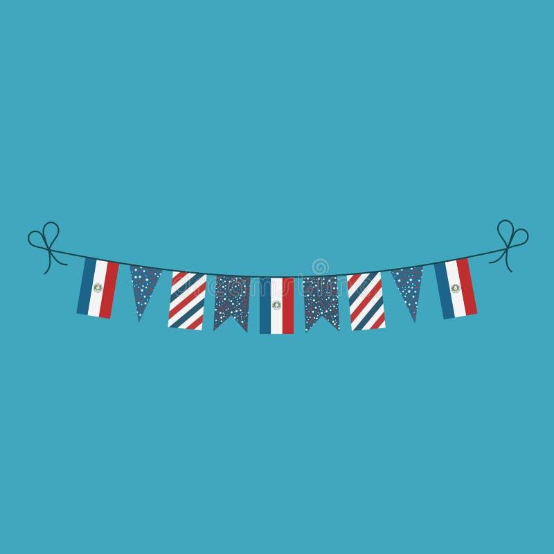 Garneringar som bunting flaggor för ferie Paraguay för nationell dag i plan design royaltyfri illustrationer