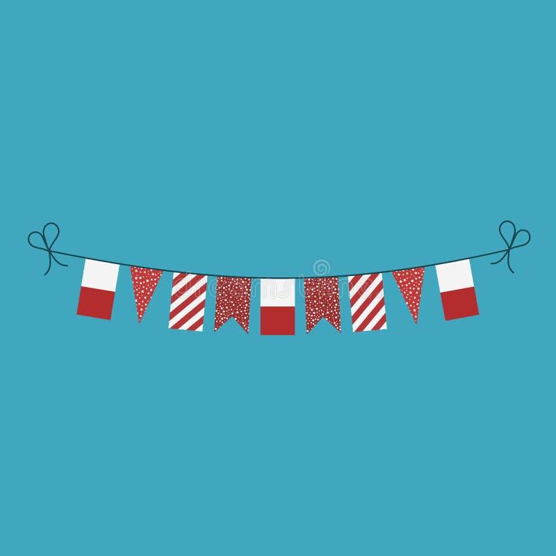 Garneringar som bunting flaggor för ferie Polen för nationell dag i plan design royaltyfri illustrationer