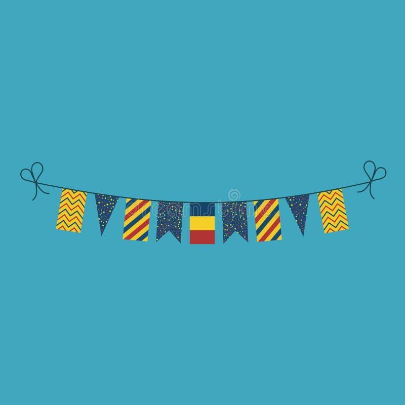 Garneringar som bunting flaggor för ferie Rumänien för nationell dag i plan design royaltyfri illustrationer