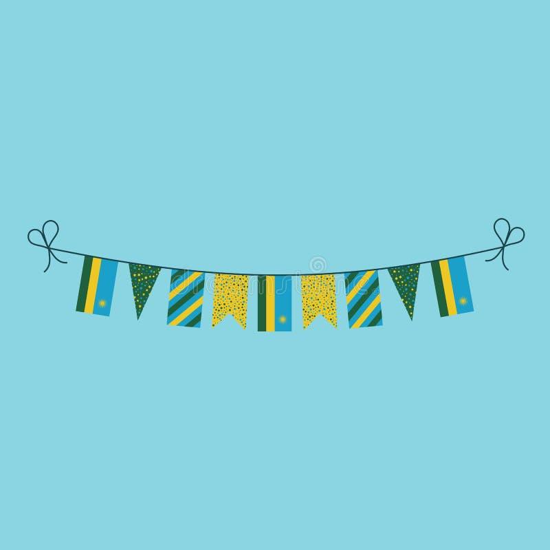 Garneringar som bunting flaggor för ferie Rwanda för nationell dag i plan design vektor illustrationer
